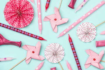 Flat lay decoration party concept on colorful background