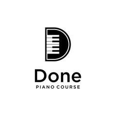 Grand piano design logo template Vector sign D illustration.