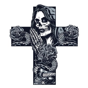 Vintage chicano cross shaped tattoo concept