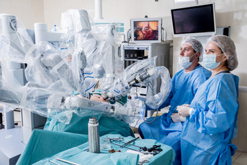 Modern surgical system. Medical robot. Minimally invasive robotic surgery.