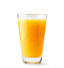 Poster Juice Orange juice in a glass close-up on a white. Isolated