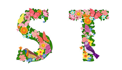 fancy collection of colorful letters S, T with butterflies and b