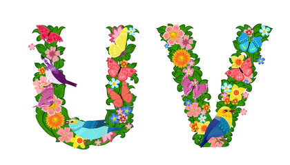 fancy collection of colorful letters U, V with butterflies and b