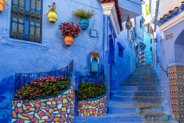 Stunning blue streets and tiles of Chefchaouen Morocco