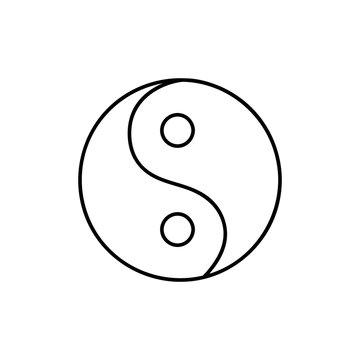 Yin Yang icon. Yinyang symbol. Thin line icon on white background. Vector illustration.