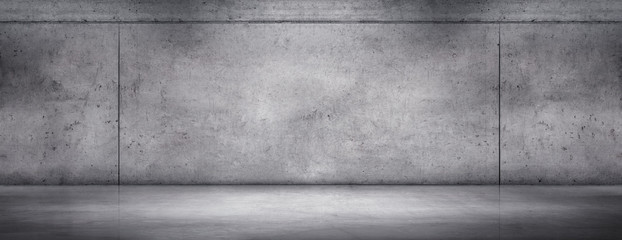 Empty Exposed Concrete Wall with Gray Stone Floor Room Background Wall mural