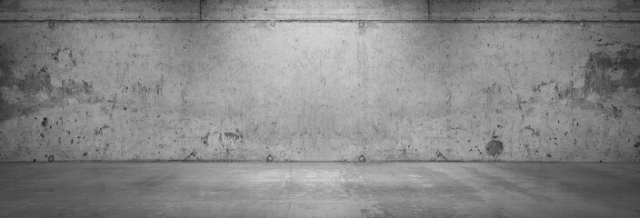 Photo sur Toile Taupe Old Concrete Wall Background Empty Floor Panoramic Room Wide Angle