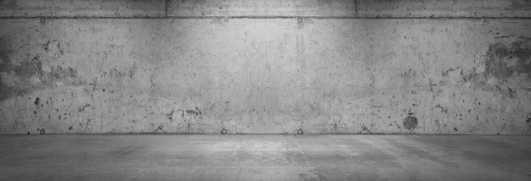 Old Concrete Wall Background Empty Floor Panoramic Room Wide Angle