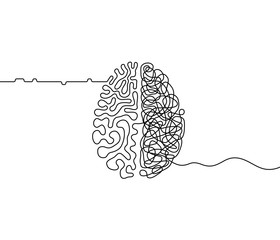 Human brain creativity vs logic chaos and order a continuous line drawing concept, organised vs disorganised left and right brain hemispheres as a chaos theory metaphor, one line vector illustration