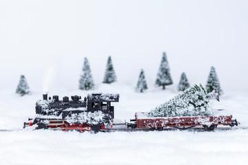 Dampflokomotive mit einem Weihnachtsbaum in einer Schneelandschaft (Modellbau)