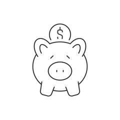 Put coin in piggy bank linear icon on white background. Editable stroke