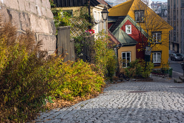 Little street in old Oslo in late autumn, Norway