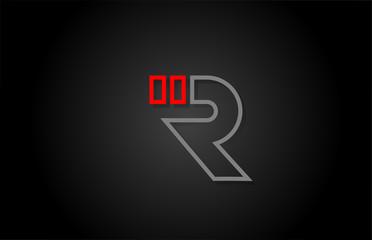alphabet line R letter red black for company logo icon design