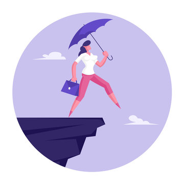 Crisis Protection Concept. Confident Businesswoman with Purple Umbrella and Briefcase in Hand Step into Abyss. Female Manager Character Try Avoid Dangerous Situation. Cartoon Flat Vector Illustration