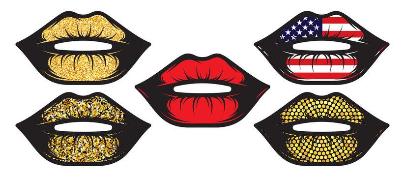 Set of female lips isolated on white background. Vector illustration. EPS10