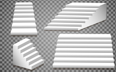 Set of white stairs. Staircase step architecture element, isolated staircase, 3d staircase. vector illustration, eps 10