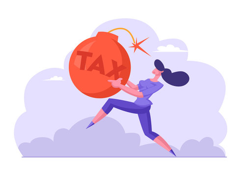 Scared Businesswoman Running Fast in Panic Holding Huge Red Bomb with Sparkling Wick and Tax Inscription. Taxation Payment, Mortgage Bank Debt. Business Problems Cartoon Flat Vector Illustration