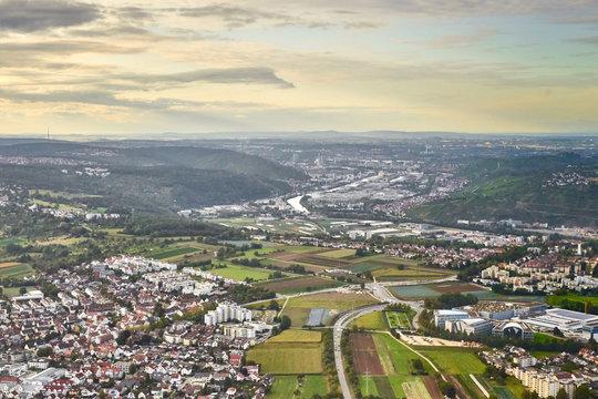 High angle view of Neckar Valley next to Stuttgart