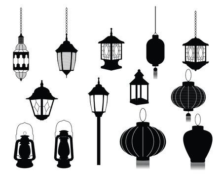 Silhouette of Lantern Icon Illustration Chinese Japanese
