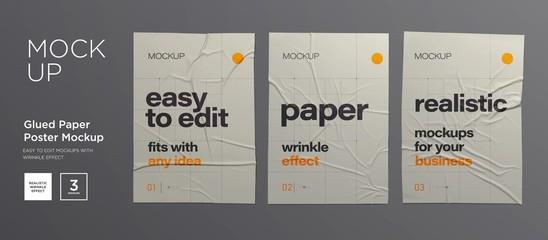 Wrinkled poster template set. Glued paper. Vector Realistic wet wrinkled posters mockup