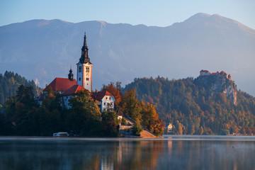 Insel Bled und Schloss Bled auf dem Bleder See, Slowenien
