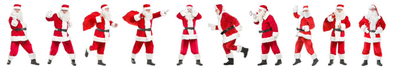 Collage with Santa Clauses on white background