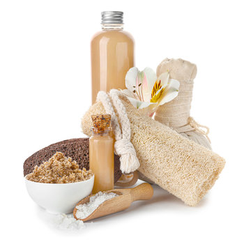 Composition with spa items and cosmetics on white background