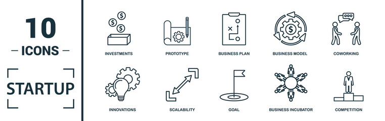 Startup icon set. Include creative elements goal, business plan, prototype, business incubator, vision icons. Can be used for report, presentation, diagram, web design