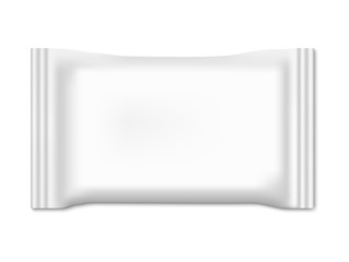 Blank white plastic package for wet wipes or towels. Realistic 3D vector mock up with shadow on white background.