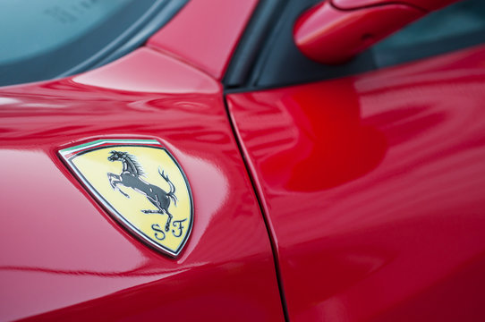 Mulhouse - France - 13 October 2019 - Closeup of Ferrari logo on red Ferrari 360 Modena parked in the street