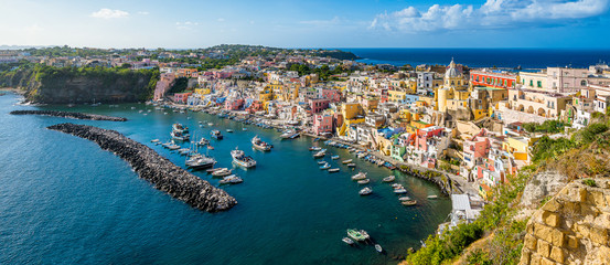 Foto op Aluminium Napels Panoramic sight of the beautiful island of Procida, near Napoli, Campania region, Italy.