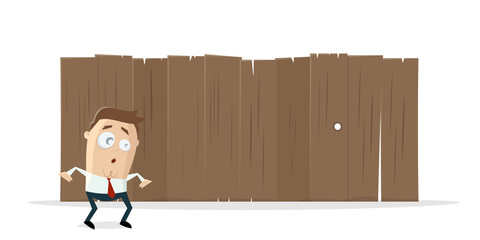 funny cartoon man standing in front of a wooden fence