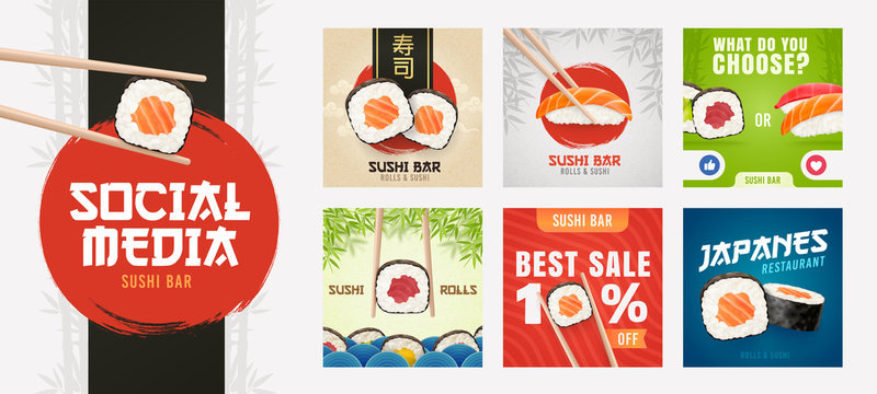 Social Media template on theme Sushi. Set of banners square shape on theme Sushi Bar. Design of advertising in social networks
