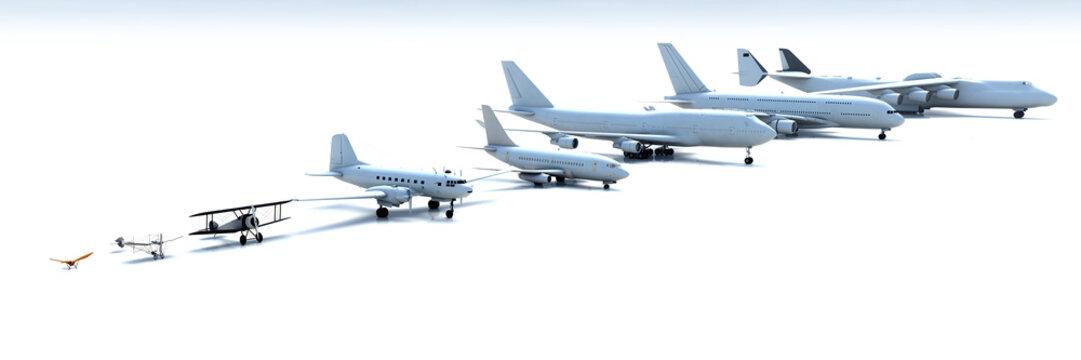 3D illustration of flight evolution