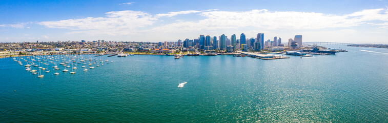 Wall Mural - Amazing panoramic view of the San Diego downtown by the harbour with many skyscrapers