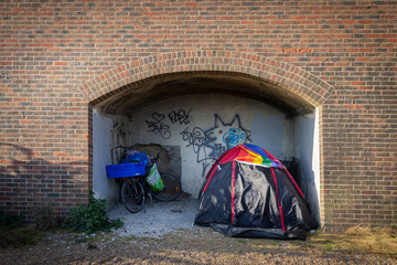 homeless tent in brighton Wall mural