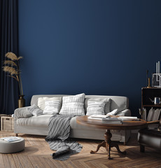 Dark blue Scandinavian home interior  with retro furniture, poster wall mock-up in living room, 3d render