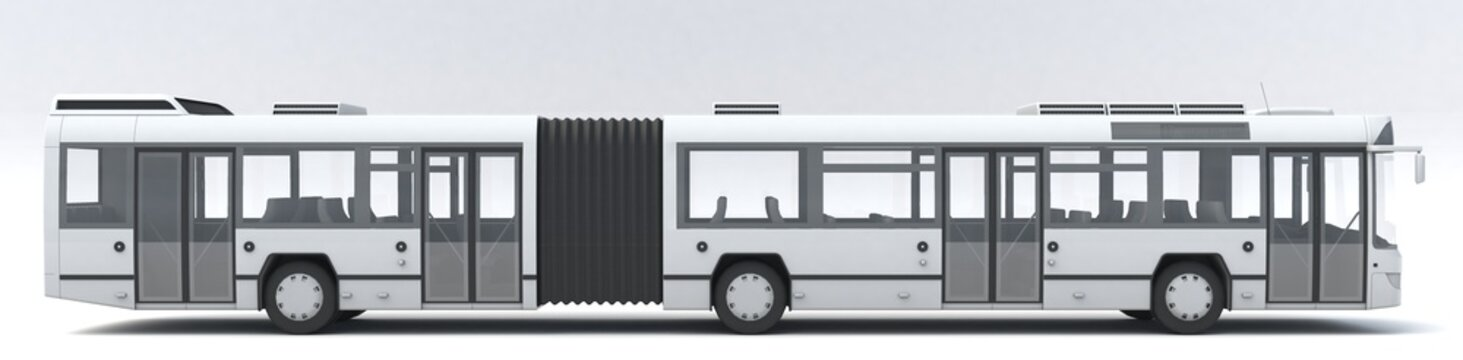 3D illustration of Articulated City Bus