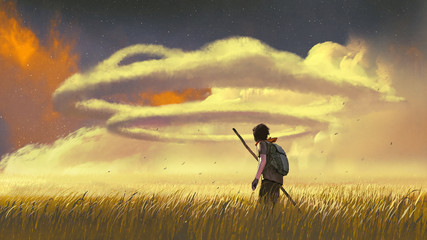 Tuinposter Grandfailure young man walking through a meadow and looking at the ring clouds in the sky, digital art style, illustration painting