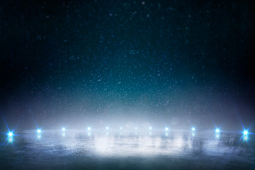 Night ice rink. Winter background with blue lights