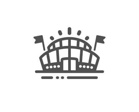 Stadium with flags sign. Sports arena icon. Sport complex symbol. Classic flat style. Simple sports arena icon. Vector
