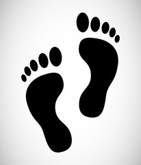 Human foot barefoot sole imprint icon