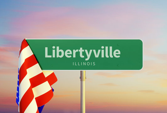 Libertyville – Illinois. Road or Town Sign. Flag of the united states. Sunset oder Sunrise Sky. 3d rendering