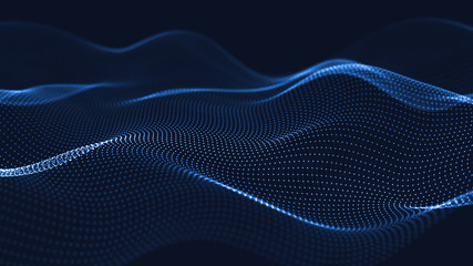 3d abstract digital technology background. Futuristic sci-fi user interface concept with gradient dots and lines. Big data, artificial intelligence, music hud. Blockchain and cryptocurrency
