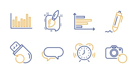 Horizontal chart, Painting brush and Time management line icons set. Signature, Bar diagram and Flash memory signs. Messenger, Recovery photo symbols. Presentation graph, Graphic art. Vector