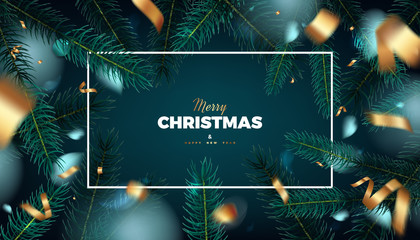 Merry Christmas red background, abstract festive banner with fir tree forest and golden serpentine 3d vector design