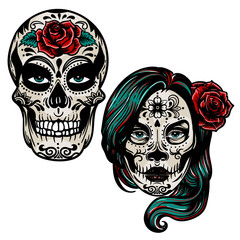 Vector hand drawn colorful illustration of Day Of The Dead Skull.Sugar skull girl. Skull sugar flower. Skull tattoo isolated on white.