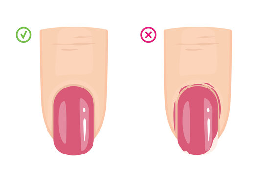 Manicure Mistakes. How to Remove Nail Polish from Around the Nails. Manicure Guide. Vector illustration