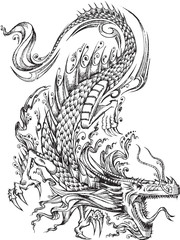 Tuinposter Cartoon draw Tribal Sketch Dragon Vector Illustration Art