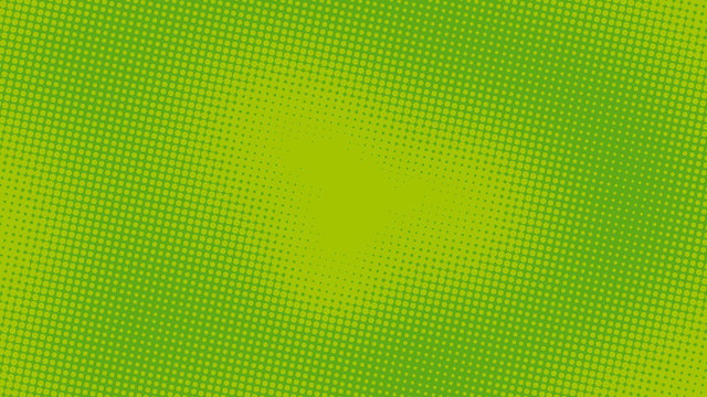 Green pop art background with halftone dots in retro comic style, template for design